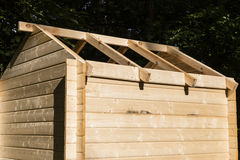 Construction of a wooden hut Royalty Free Stock Photos