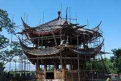Construction wooden pavilion in china Stock Images