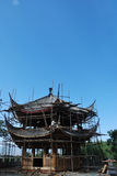 Construction wooden pavilion in china. Construction traditional wooden pavilion in china Stock Images