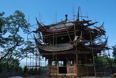 Construction wooden pavilion in china. Construction traditional wooden pavilion in china Stock Image