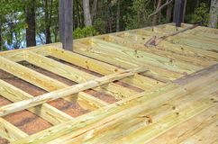 Construction Work, Building a New Deck Stock Photos