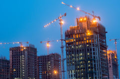 Construction work on building at night Royalty Free Stock Photo