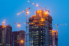 Construction work on building at night stock photography