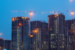 Construction work on building at night Stock Images