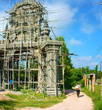 Construction work, construct khmer pagoda gate Royalty Free Stock Image