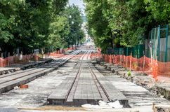 Construction work on the construction of new roads and laying of tram rails in Lviv, Ukraine Stock Photography
