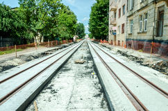 Construction work on the construction of new roads and laying of tram rails in Lviv, Ukraine Stock Photo