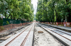 Construction work on the construction of new roads and laying of tram rails in Lviv, Ukraine Stock Images