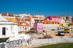 Construction work on the dismantling of buildings in Lisboa.