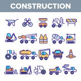 Construction Work Elements Linear Vector Icons Set royalty free illustration