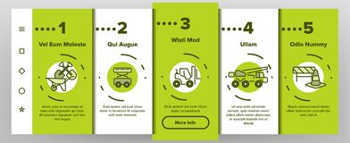 Construction Work Elements Vector Onboarding Mobile App Page Screen royalty free illustration