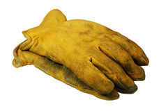 Construction Work Gloves. Worn pair of work gloves.  (with clipping path Stock Photo