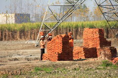 Construction work going on at Rural India Stock Images