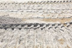 Construction Work Heavy Equipment Tracks in Dirt stock photography