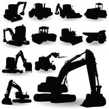 Construction work machine silhouette vector Royalty Free Stock Images