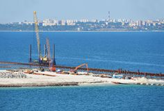 Construction work of new terminal in port Royalty Free Stock Photography