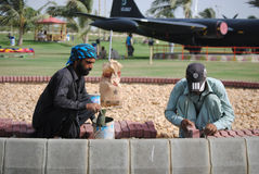 Construction work in park. Construction workers are making bricks floor, in Karachi,Pakistan Stock Images