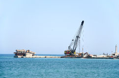 Construction work at port Stock Image