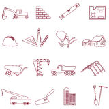Construction and work simple outline icons set eps10 Royalty Free Stock Photos