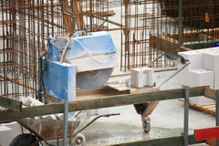 Construction work of stone cutting by cut-off saw Royalty Free Stock Images
