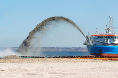 Construction work on the washing of sand from Stock Photography
