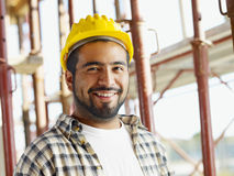 Construction worker. Portrait of latin american construction worker, looking at camera Stock Photography