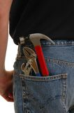 Construction Worker. A man with tools in his back pocket Royalty Free Stock Photos