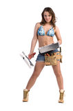 Construction Worker. Cute female construction worker in Daisy Duke denim shorts, bikini top and a framers tool belt with a pan and knife full of drywall mud Stock Photos