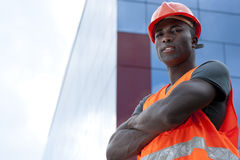 Construction worker. Looking camera, outdoors Royalty Free Stock Image
