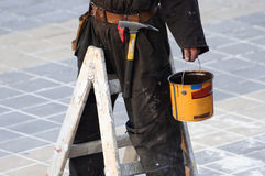 Construction worker. In action 1 stock image