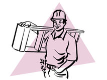 Construction worker. Illustration of a construction worker to work Stock Photos