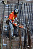 Construction worker. Cutting metal royalty free stock photography