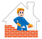 Construction worker. Building a red bricked wall Royalty Free Stock Image