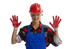 Construction Worker. A female construction worker on white Royalty Free Stock Image