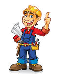 Construction worker. S stand by holding the paper work and tools with a thumbs-up and a big smile Royalty Free Stock Photography