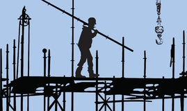 Construction worker. During his job Stock Photos