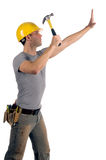 Construction Worker. In a hard hat and tool belt Stock Photography