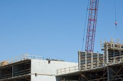 Construction Worker. Construction of Highrise Building royalty free stock images