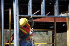 Construction Worker. Man working on a building stock images