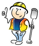 Construction Worker. A simple illustration of a construction worker with a spade in his left hand Royalty Free Stock Photos