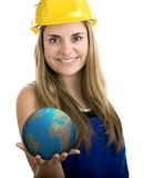 Construction worker. Holding the Earth on white background Royalty Free Stock Photo