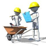 Construction worker in action. 3d rendering Royalty Free Stock Photos