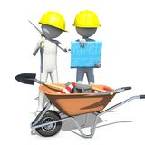 Construction worker in action. 3d rendering Stock Photo