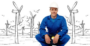 Construction worker against graphic background Stock Images