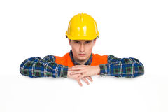 Construction worker announcement. Royalty Free Stock Photography