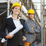 Construction worker and architect royalty free stock images