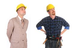 Construction worker and architect Stock Photo
