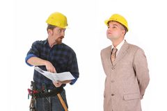 Construction worker and architect stock photography