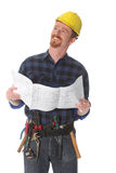 Construction worker with architectural plans Stock Image