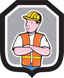 Construction Worker Arms Crossed Shield Cartoon Stock Photos